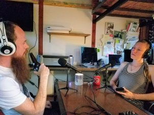 Cole and Angelica recording the podcast