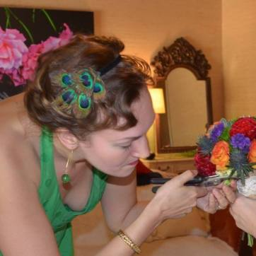 Amber polishing a wedding bouquet before it went down the aisle