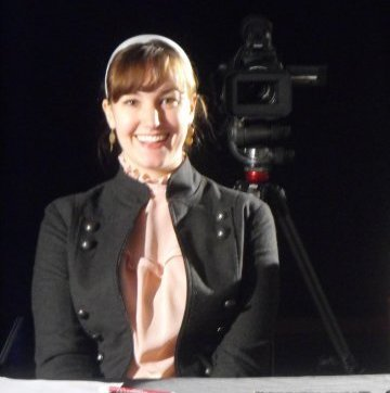 """Amber on set for One Room Schoolhouse's """"Audition"""""""