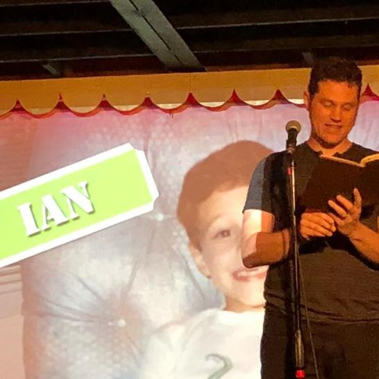 Ian on stage at Mortified