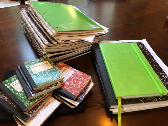 Ian's many notebooks for writing