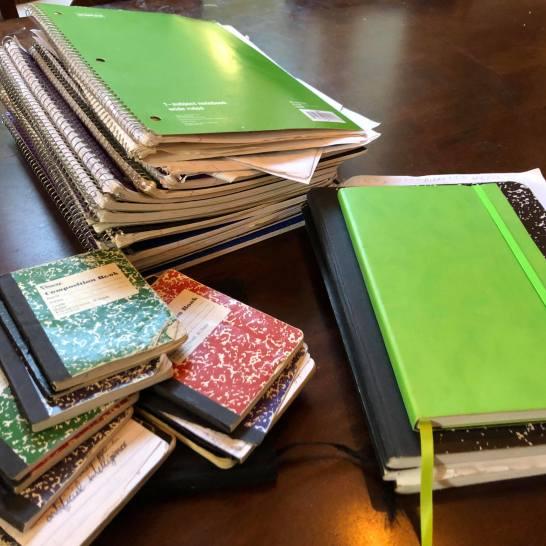 Ian's many notebooks for writing