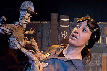 Don Quixote confronts Y (Caroline Reck). (Photo courtesy of Glass Half Full Theatre)