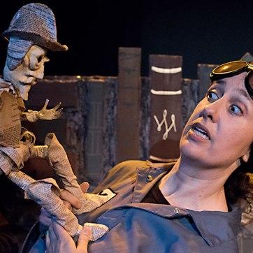 Don Quixote confronts Y (Caroline Reck). (Photo courtesy of Glass Half Full Theatre)