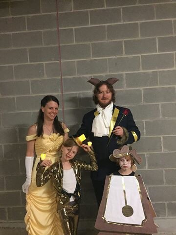 Beauty and the Beast outfits, all made by Sarah