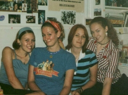 Angelica, Genevieve, Diana, and Amber in college in the early 2000s
