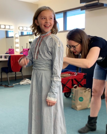 Eloise and Emily Cawell at a costume fitting for A Doll's House