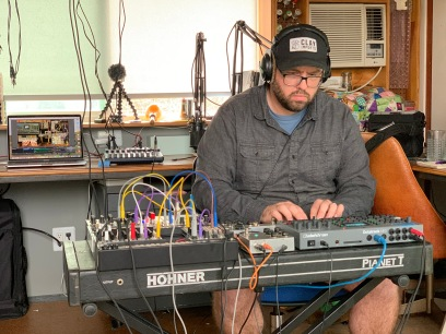 Matt Norton recording a live set for Sobriety and Synthesizers Facebook Group